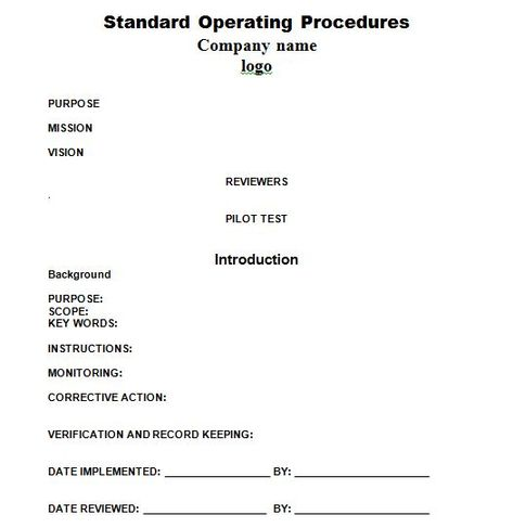 SOP Templates 10 business Pinterest Standard operating - corrective action plan template