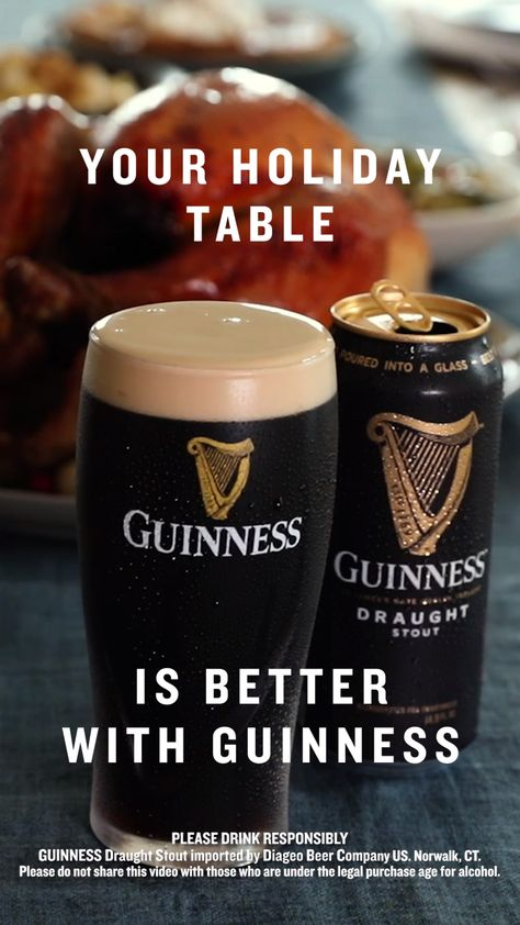 The rich and creamy notes of our Guinness Draught pair perfectly with any of your favorite holiday dinner recipes this holiday season. So, whether it's delicious desserts for your Friendsgiving menu, your favorite foods on the Thanksgiving dinner table or your go-to holiday sides, start a new tradition—make Guinness the holiday drink choice for you and your family the next time you're looking for hosting ideas!