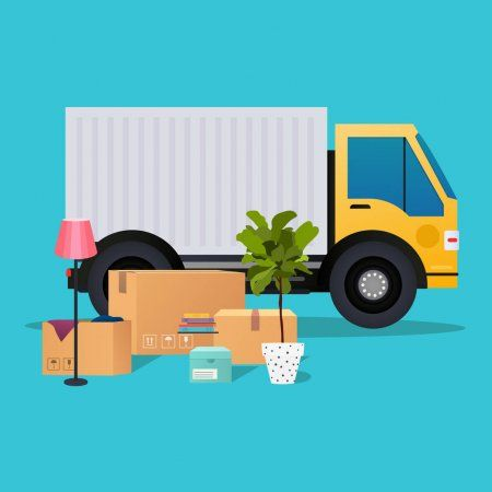Moving Truck And Cardboard Boxes Stock Vector Affiliate