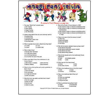 graphic about Mardi Gras Trivia Quiz Printable referred to as Pinterest