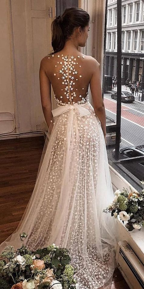 27 Stunning Trend: Tattoo Effect Wedding Dresses ❤️ tattoo effect wedding dresses a line illusion back with bow berta #weddingforward #wedding #bride