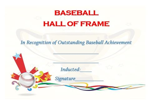 Little League Baseball Certificate Template  Baseball Certificate