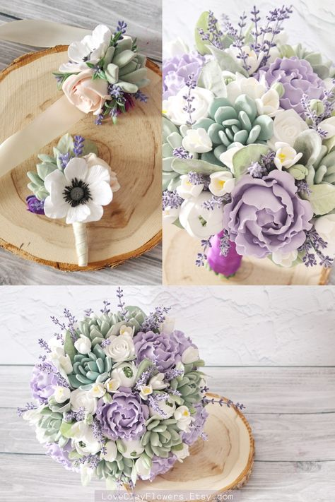 Succulent wedding bouquet set by LoveClayFlowers. Purple Mint Bridal bouquet , Purple Lavender bouquet , Bouquet package , bridesmaids bouquet set. Every item in my shop is handmade. I create clay flowers and make bridal bouquets and accessories from high-quality materials. Custom colors and designs bouquets. Personalized customer service #chicwedding #weddingaccessories