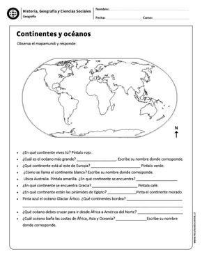 Continentes Y Océanos Geography For Kids Social Studies Worksheets Social Science