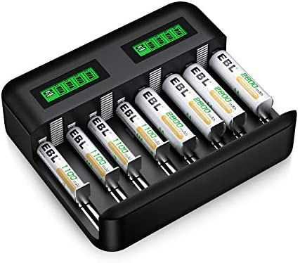 Amazon Com Ebl Charger And Batteries Set 8slot Lcd Independent Battery Charger And A Rechargeable Batteries Aaa Battery Charger Rechargeable Battery Charger