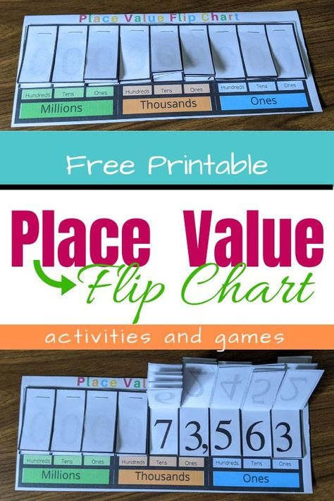Is your child struggling with the concept of place value? This printable place value chart and the accompanying activities and games will build understanding and number sense! Number Place Value, Place Value Games, Place Value Chart, Place Value Activities, Help Teaching, Teaching Math, Maths, Math Fractions, Multiplication