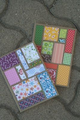 Patchwork cards or scrapbook pages.great use for scraps. Scrapbook Paper Projects, Scrapbook Cards, Paper Crafting, Disney Scrapbook, Paper Craft Making, Paper Cards, Diy Cards, Fabric Cards, Patchwork Cards