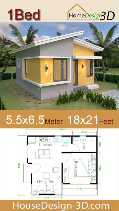 Small House Plans 5 5x6 5 With One Bedroom Shed Roof The House Has Car Parking And Garden Living Room Di House Plans Small House Design Small House Plans