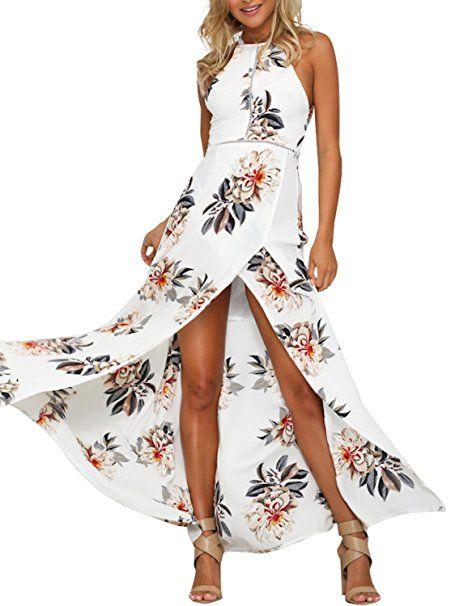 Damen Blumen Lang Kleider Maxikleid Party Abendkleid Sommer Strandkleid Hochzeit