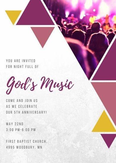 Customize 390 Church Invitation Templates Online Canva With Regard To Invitation Templat Event Invitation Templates Anniversary Invitations Event Invitation