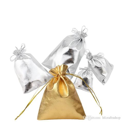 Favor Jewelry Gift Bags Metallic Foil Cloth Packaging Pouches Organza Bag