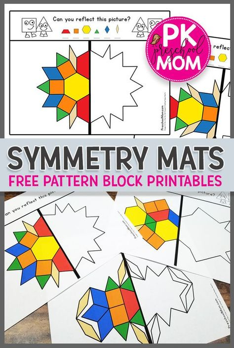 Free Symmetry Printables Free Hands-On Math Printables for learning symmetry Students LOVE these symmetry pattern block printables great for preschool math learning centers via prekmoms Math Art, Fun Math, Math Tubs, 1st Grade Math, Grade 1, First Grade Art, Preschool Activities, Free Printables For Preschool, Learning Centers Kindergarten