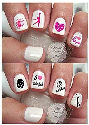 Amazon Com 200 Sports Volleyball Nail Art Design Decals Beauty Volleyball Nail Art Volleyball Nails Sports Nails