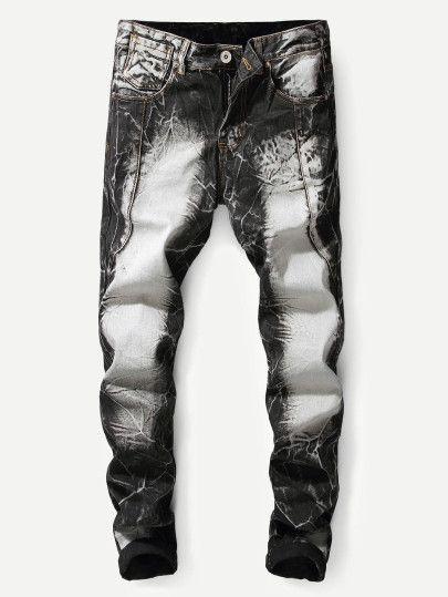 Los Hombres Hacen Viejos Jeans Ajustados Shein Sheinside Los Hombres Hacen Viejos Jeans A Ropa De Disenador Para Hombres Jeans Para Hombre Ropa De Hombre