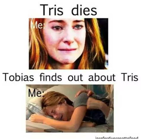 I knew Tris was going to die cause my friend told me when I was on Divergent. Divergent Memes, Divergent Hunger Games, Divergent Fandom, Divergent Trilogy, Divergent Insurgent Allegiant, Insurgent Quotes, Books Like Divergent, Tris Und Four, Tris And Tobias