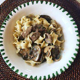 Creamy Beef Tips With Egg Noodles Recipe In 2020 Slow Cooker Beef Stroganoff Creamed Beef Beef Stroganoff