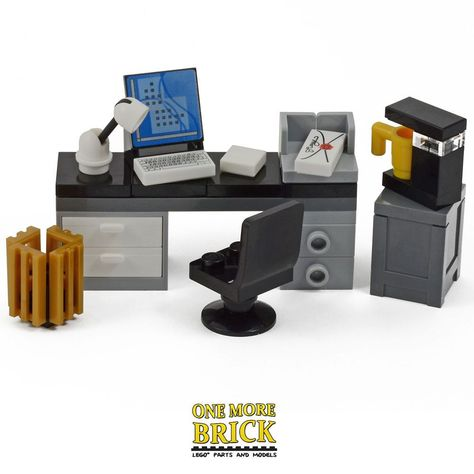 Office Desk w// Printer Computer Monitor LEGO Minifigure Desktop Screen Chair