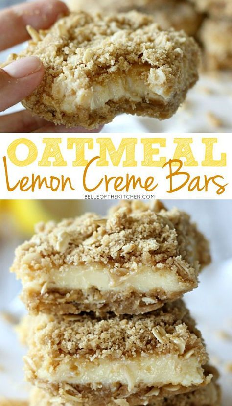 Lemon Creme Bars Tart, yet sweet lemon bars with an oatmeal streusel crust and topping.Tart, yet sweet lemon bars with an oatmeal streusel crust and topping. Brownie Desserts, Just Desserts, Delicious Desserts, Yummy Food, Yummy Dessert Recipes, Healthy Lemon Desserts, Lemon Bars Healthy, Bbq Desserts, Health Desserts