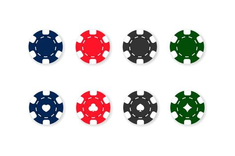 Casino chips icon set. Poker. Blue, red, black and green (1282345)   Icons   Design Bundles