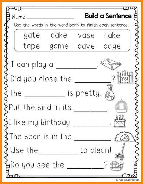 10 Kindergarten Sentence Writing Math Cover 1st Grade