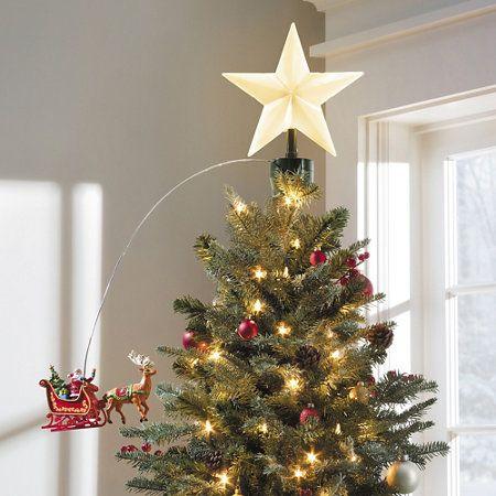 Animated Santa Sleigh Christmas Tree Topper Tree Toppers Christmas Tree Christmas Tree Toppers