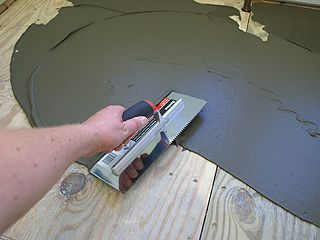Spreading Thinset Mortar With Smooth Edge Of Tile Layers Trowel Backerboard Fiber Cement Cement Art