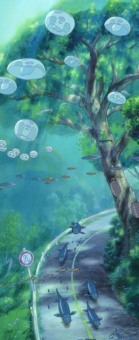 Image about art in Anime, Manga, Studio Ghibli - Jaaapan by Ta . - Image of anime, fish, and studio ghibli Studio Ghibli Wallpaper, Studio Ghibli Background, Art Background, Anime Scenery Wallpaper, Cute Anime Wallpaper, Wallpaper Backgrounds, Iphone Wallpaper, Moving Wallpapers, Vintage Backgrounds
