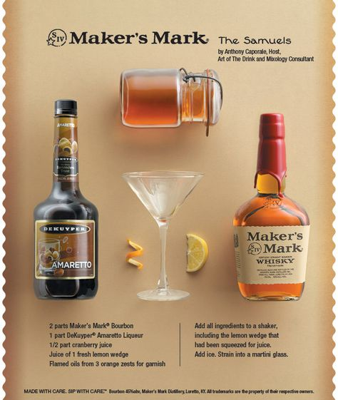 Bourbon, amaretto and cranberry make this #cocktail worthy of The Samuels' name. #bourbon #recipe
