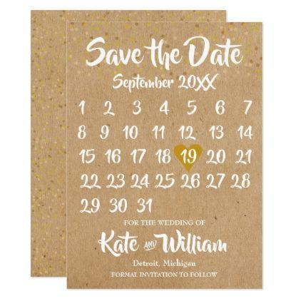 Kraft Style Calendar Save The Date Zazzle Com