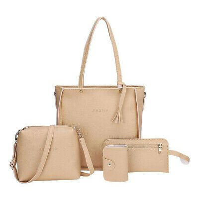 4pcs Women Leather Shoulder Crossbody Handbags Clutch Messenger Bags Totes Purse