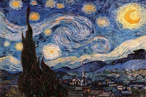 Gustav Klimt, Van Gogh Pinturas, Van Gogh Paintings, Great Paintings, Popular Paintings, Face Paintings, Gogh The Starry Night, Starry Nights, Starry Starry Night Painting