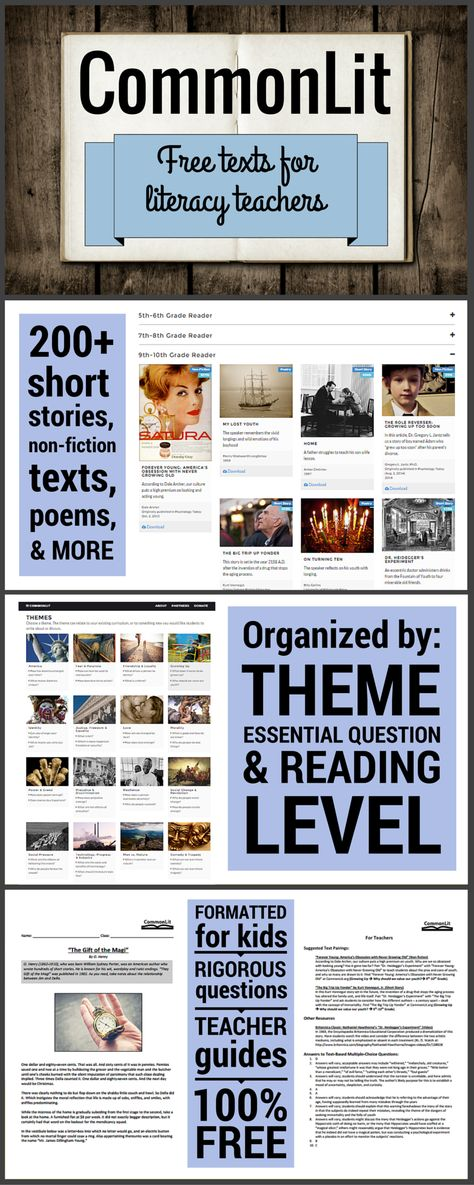 CommonLit is a FREE collection of hundreds of high-quality non-fiction articles, short stories, historical documents, poems, and more. Each text comes with background information, rigorous text-dependent questions, discussion questions, and other teacher resources. www.commonlit.org