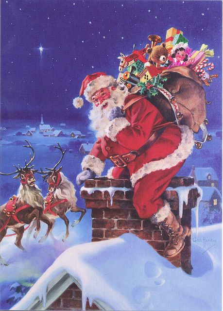 """""""Down through the chimney with good St."""" Happy Christmas Eve, Merry Christmas and Happy New Year to ALL! Christmas Scenes, Father Christmas, Vintage Christmas Cards, Santa Christmas, Christmas Pictures, Before Christmas, Winter Christmas, Primitive Christmas, Country Christmas"""