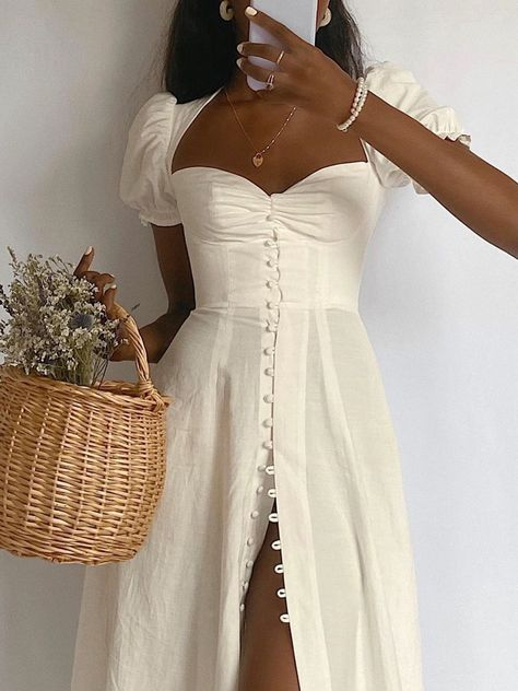 Anniecloth Party Dresses Summer Dresses Party Sheath Square Neck Gathered Elegant Short Sleeve Dresses