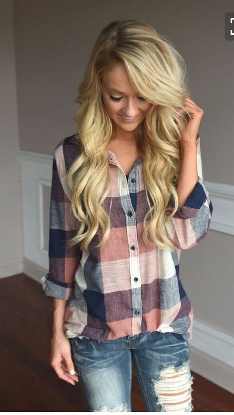 Stitch fix inspiration fall and winter 2016! Love this pink and blue plaid button down with distressed jeans.