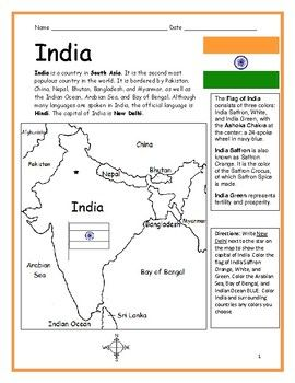 India Introductory Geography Worksheet With Map And Flag Geography Worksheets First Day Of School Activities World Thinking Day