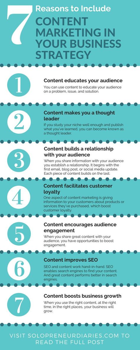 Are you looking for ideas to improve your marketing strategy? Here are 7 reasons to include content marketing in your business strategy. Click through to read the full post.   Marketing Strategies #contentmarketing