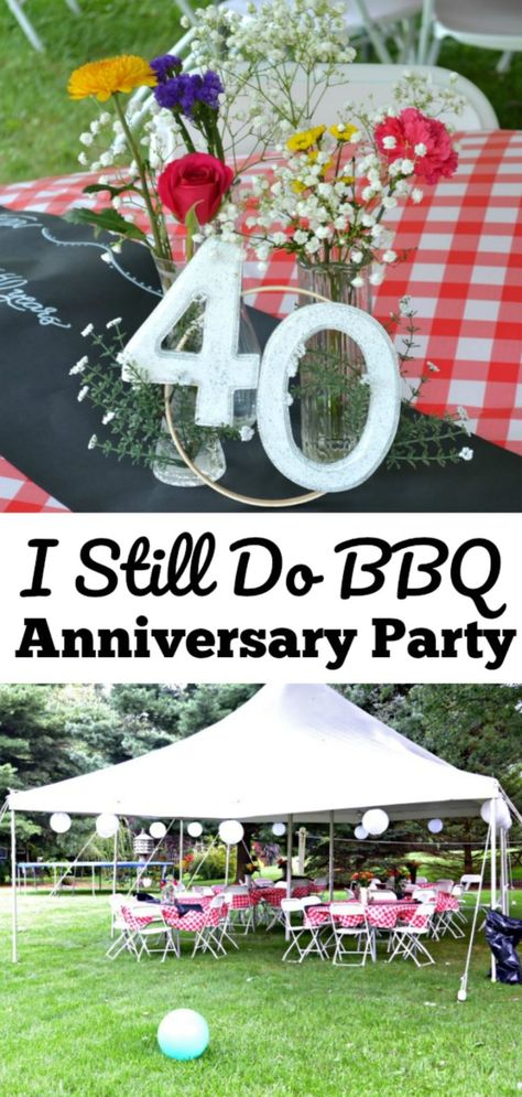 Surprise Anniversary Party Ideas {I Still Do BBQ} Get all the details on hosting a surprise anniversary party for your parents with this I Still Do BBQ anniverary party idea! City BBQ catering Columbus OH. 40th Wedding Anniversary Party Ideas, Anniversary Party Decorations, 30th Wedding Anniversary, Anniversary Celebration Ideas, Anniversary Ideas For Parents, Aniversary Ideas, Anniversary Games, Pearl Anniversary, 30 Year Anniversary