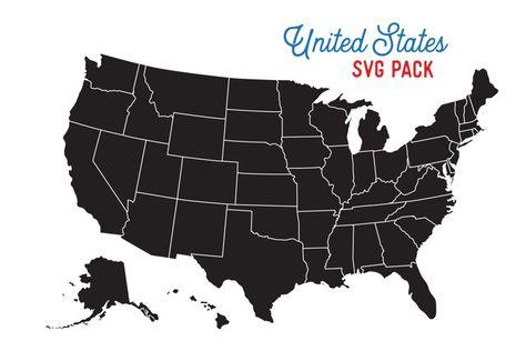 50 states svg bundle - Vector Cut Files (270316)   Illustrations   Design Bundles