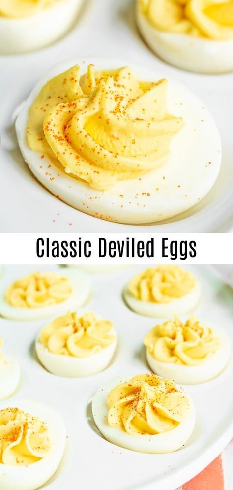 This easy, classic deviled eggs recipe is made with relish, mustard, and mayonnaise, for a sweet, tangy, deviled egg filling that is the BEST Deviled Eggs recipe for Easter, potlucks, summer parties, and football party food! This traditional southern deviled eggs recipe can be made ahead of time so it is the perfect appetizer or party food! #deviledeggs #eggs #easter #appetizer #homemadeinterest #eggsrecipeseasy
