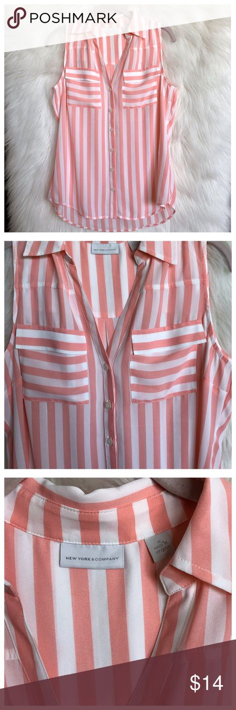 d3531c86 NEW YORK & CO Pink Striped Sleeveless Top New York & Co pink striped  sleeveless top Pointed collar Button down Two front pockets V Neckline Back  pleat Appx ...