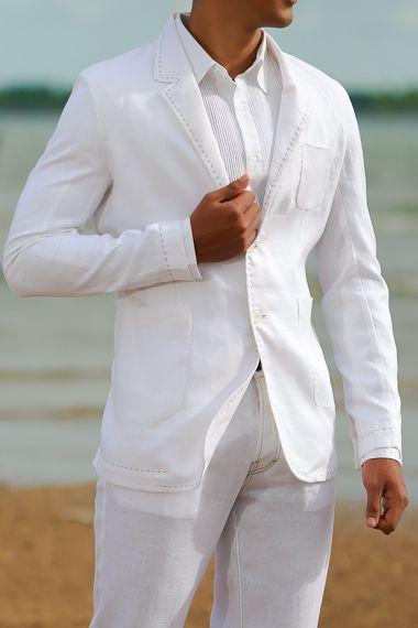 Custom White Linen Havana Suit Linen Wedding Suit White Linen