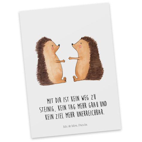 Postkarte Igel Liebe aus Karton 300 Gramm  weiß - Das Original von Mr. & Mrs. Panda.  Jedes wunderschöne Motiv auf unseren Postkarten aus dem Hause Mr. & Mrs. Panda wird mit viel Liebe von Mrs. Panda handgezeichnet und entworfen.  Unsere Postkarten werden mit sehr hochwertigen Tinten gedruckt und sind 40 Jahre UV-Lichtbeständig. Deine Postkarte wird sicher verpackt per Post geliefert.    Über unser Motiv Igel Liebe  Das Gefühl verliebt zu sein und seinen Verbündeten gefunden zu haben ist unbezah