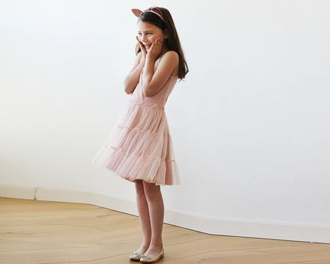 9f14da3a8006 Blush pink tulle mini skirt, Girls short tutu #clothing #children #dress  @EtsyMktgTool #girlsskirts #girlsfancyskirts #girlsruffledskirt