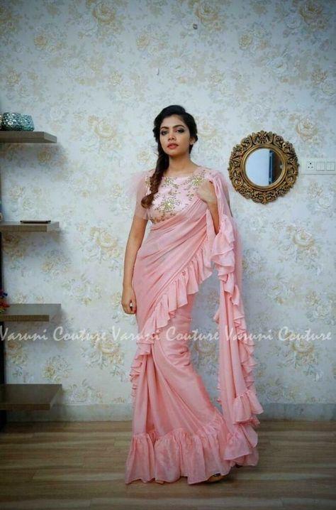 New Ethnic Style Ruffle Saree Blouse Bollywood Women Heavy sari Wedding Wear SS
