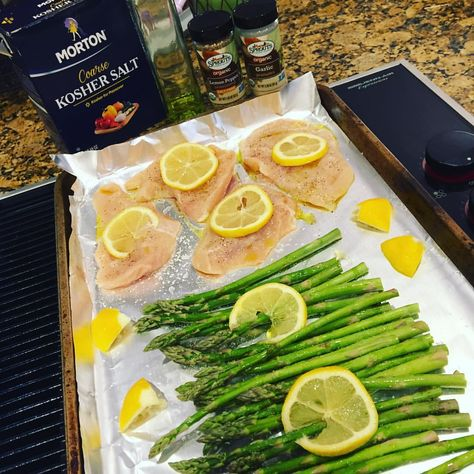 FAST, easy, healthy, cheap meal? Toss asparagus on one side of a foil-lined baking sheet, chicken cutlets on the other. Olive oil and salt on everything. Lemon pepper seasoning on the chicken and garlic on the asparagus. Top with sliced lemons and squeeze lemon juice over top of it all. Bake at 400 for 25 min!
