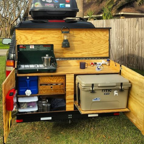 "This is an awesome idea!""Introducing at long last: The Hitchenette! Camping Trailer Diy, Truck Bed Camping, Camping Box, Camping Glamping, Van Camping, Camping And Hiking, Camping Life, Camping Survival, Camping Gear"