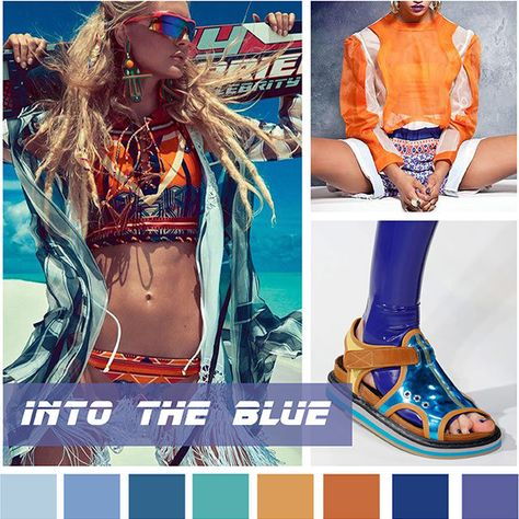 #DesignOptions SS18 color report on #WeConnectFashion, Contemporary Women's activewear mood: Into The Blue.