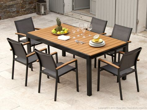 Salon de jardin composé de : 1 Table de jardin extensible en ...