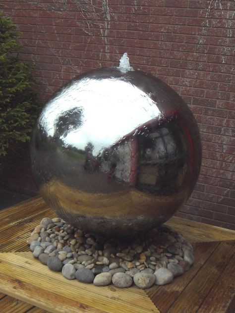 Polished Stainless Steel Sphere with LED light is a fully self-contained water feature. Made from quality grade 304 stainless steel.